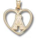 "Appalachian State Mountaineers ""A"" Heart Pendant - 14KT Gold Jewelry"
