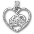 "Colorado Avalanche ""Logo"" Heart Pendant - Sterling Silver Jewelry"