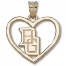 """Bowling Green State Falcons 5/8"""" """"BG"""" Pierced Heart Pendant - Gold Plated Jewelry"""