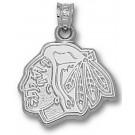 "Chicago Blackhawks ""Blackhawks Head Logo"" 5/8"" Pendant - Sterling Silver Jewelry"