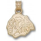 "Chicago Blackhawks ""Blackhawks Head Logo"" 3/8"" Pendant - 14KT Gold Jewelry by"