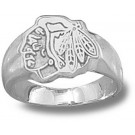"Chicago Blackhawks ""Head Logo"" Ladies' Ring Size 6 3/4 - Sterling Silver Jewelry"