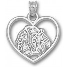 Chicago Blackhawks Heart Head Logo Pendant - Sterling Silver Jewelry