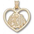 Chicago Blackhawks Heart Head Logo Pendant - 10KT Gold Jewelry