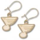 """St. Louis  Blues 3/8"""" Note Logo Dangle Earrings - 10KT Gold Jewelry"""