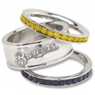 Milwaukee Brewers Logo Crystal Stacked Ring Set (Size 7)