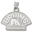 "Boston Bruins 1/2"" Bear Logo Pendant - Sterling Silver Jewelry"