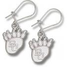 """Baylor Bears 1/2"""" """"BU"""" Paw Dangle Earrings - Sterling Silver Jewelry"""