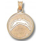 "San Diego Chargers 5/8"" Round ""Bolt"" Pendant - Gold Plated Jewelry"