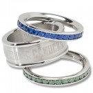 Vancouver Canucks Logo Crystal Stacked Ring Set (Size 6)