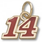 "Tony Stewart #14 5/16"" Red Enameled Charm - Gold Plated Jewelry"