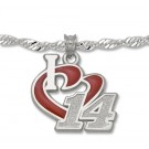 "Tony Stewart 3/4 ""I Heart 14"" Enameled Pendant on 18"" Chain - Sterling Silver Jewelry"
