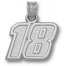 """Kyle Busch Medium Driver Number """"18"""" 1/2"""" Pendant - Sterling Silver Jewelry"""