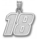 "Kyle Busch Large Driver Number ""18"" 5/8"" Pendant - Sterling Silver Jewelry"