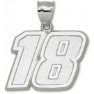 """Kyle Busch Giant Driver Number """"18"""" 1 1/2"""" Pendant - Sterling Silver Jewelry"""