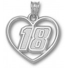 """Kyle Busch Driver Number """"18"""" Heart Pendant - Sterling Silver Jewelry"""