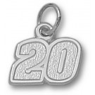 """Joey Logano Small Driver Number """"20"""" 3/8"""" Charm - Sterling Silver Jewelry"""