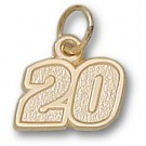 """Joey Logano Small Driver Number """"20"""" 3/8"""" Charm - 14KT Gold Jewelry"""