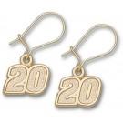 """Joey Logano 5/16"""" Small #20 Dangle Earrings - 10KT Gold Jewelry"""
