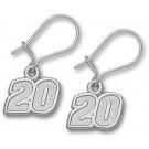 """Joey Logano 5/16"""" Small #20 Dangle Earrings - Sterling Silver Jewelry"""