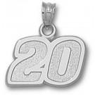 """Joey Logano Medium Driver Number """"20"""" 1/2"""" Pendant - Sterling Silver Jewelry"""