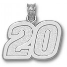 """Joey Logano Large Driver Number """"20"""" 5/8"""" Pendant - Sterling Silver Jewelry"""