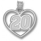 """Joey Logano Driver Number """"20"""" Heart Pendant - Sterling Silver Jewelry"""