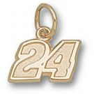 "Jeff Gordon Small Driver Number ""24"" 1/4"" Charm - 14KT Gold Jewelry"
