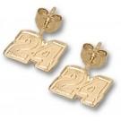 """Jeff Gordon 1/4"""" Very Small #24 Post Earrings - 14KT Gold Jewelry"""