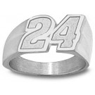 "Jeff Gordon Medium ""Driver Number 24"" Men's Ring Size 12 1/2 - Sterling Silver Jewelry"