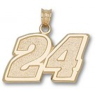 "Jeff Gordon Large Driver Number ""24"" 9/16"" Pendant - 14KT Gold Jewelry"
