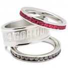 Jeff Gordon Logo Crystal Stacked Ring Set (Size 6)