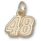 """Jimmie Johnson Small Driver Number """"48"""" 3/8"""" Charm - 14KT Gold Jewelry"""