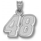 """Jimmie Johnson Medium Driver Number """"48"""" 1/2"""" Pendant - Sterling Silver Jewelry"""