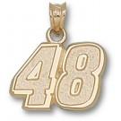 "Jimmie Johnson Medium Driver Number ""48"" 1/2"" Pendant - 14KT Gold Jewelry"