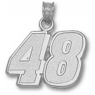 """Jimmie Johnson Large Driver Number """"48"""" 5/8"""" Pendant - Sterling Silver Jewelry"""