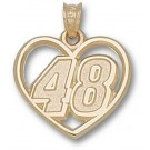 """Jimmie Johnson Driver Number """"48"""" Heart Pendant - 14KT Gold Jewelry"""