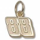 "Dale Earnhardt, Jr. 3/8"" Small ""88"" Charm - Gold Plated Jewelry"