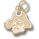 "East Carolina Pirates ""Pirate Head"" 7/16"" Charm - 14KT Gold Jewelry"
