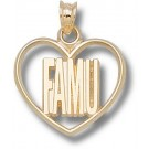 "Florida A & M Rattlers ""FAMU"" Heart Pendant - 14KT Gold Jewelry"