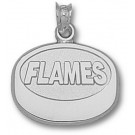 """Calgary Flames """"Flames Puck"""" Pendant - Sterling Silver Jewelry"""