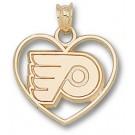 "Philadelphia Flyers ""P Heart"" Pendant - 14KT Gold Jewelry"