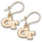 "Georgia Tech Yellow Jackets 3/8"" ""GT"" Dangle Earrings - 10KT Gold Jewelry"