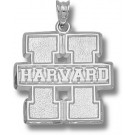 "Harvard Crimson Block ""H with Harvard"" Pendant - Sterling Silver Jewelry"