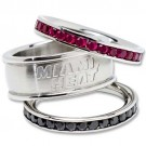 Miami Heat Logo Crystal Stacked Ring Set (Size 6)