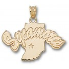 """Indiana State Sycamores """"Sycamores with Indiana Map"""" Pendant - 10KT Gold Jewelry"""
