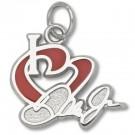 """Dale Earnhardt Jr. 1/2"""" """"I Heart Dale Jr."""" Enameled Charm - Sterling Silver Jewelry"""