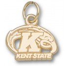"Kent State Golden Flashes ""Kent State K with Eagle"" Charm - Gold Plated Jewelry"