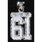 """Large 3/4"""" Double Number Diamond Cut Pendant - Sterling Silver Jewelry"""