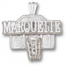"Marquette Golden Eagles ""Marquette Basketball Backboard"" Pendant - Sterling Silver Jewelry"